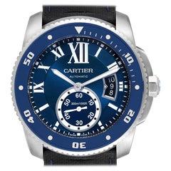 Cartier Calibre Diver Blue Dial Rubber Strap Steel Men's Watch WSCA0011 Papers