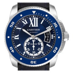 Cartier Calibre Diver Blue Dial Steel Men's Watch WSCA0011 Box Card