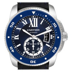 Cartier Calibre Diver Stainless Steel Blue Dial Watch WSCA0010 Box Papers