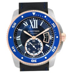 Cartier Calibre Diver Steel Rose Gold Blue Dial Men's Watch W2CA0009