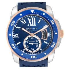 Cartier Calibre Diver Steel Rose Gold Blue Rubber Strap Watch W2CA0009 Box Card