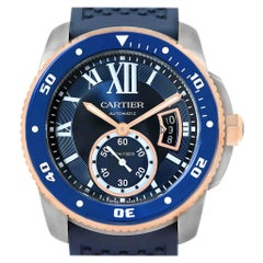 Cartier Calibre Diver Steel Rose Gold Blue Strap Watch W2CA0009 Box Card