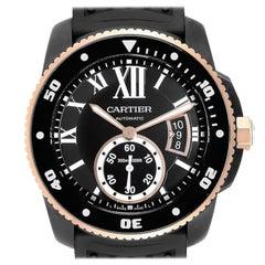 Cartier Calibre DiverCarbon Rose Gold Rubber Men's Watch W2CA0004 Box Papers