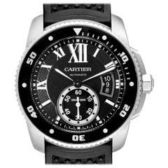 Cartier Calibre Divers Black Rubber Strap Steel Men's Watch W7100056