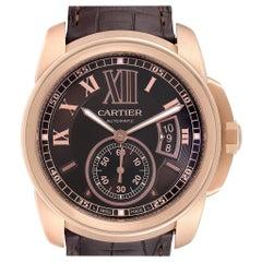 Cartier Calibre Rose Gold Brown Dial Automatic Men's Watch W7100007