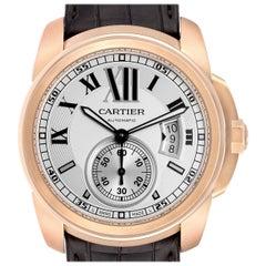Cartier Calibre Rose Gold Silver Dial Automatic Men's Watch W7100009