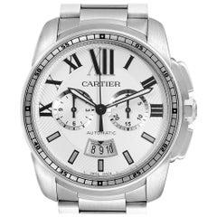 Cartier Calibre Silver Dial Chronograph Men's Watch W7100045 Box Papers