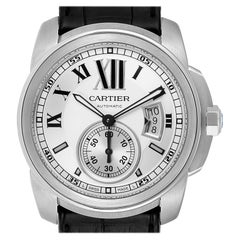 Cartier Calibre Silver Dial Steel Men's Watch W7100037 Box