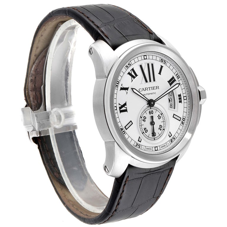 Cartier Calibre Silver Dial Steel Men's Watch W7100037 Box Papers In Excellent Condition For Sale In Atlanta, GA
