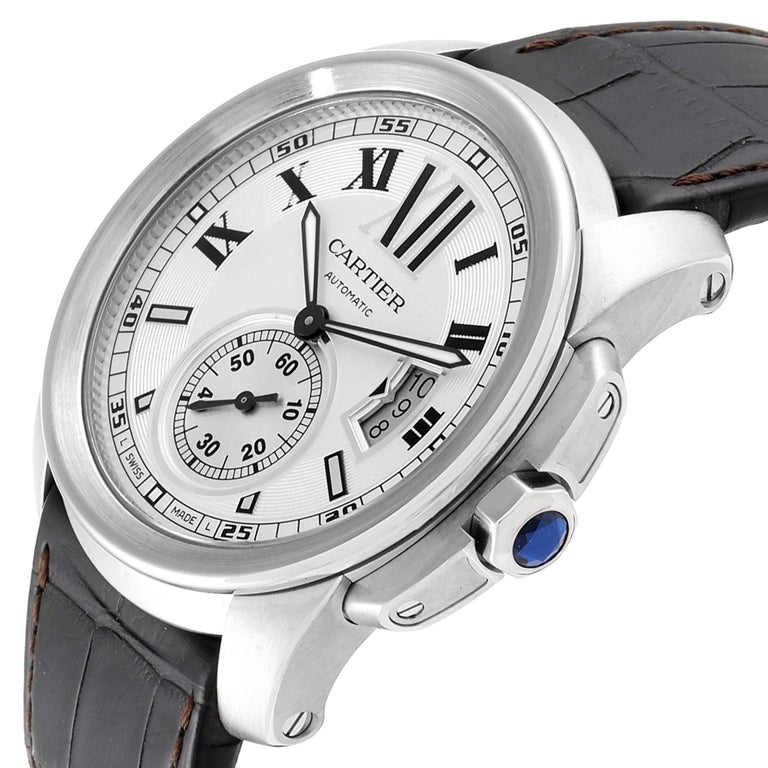 Cartier Calibre Silver Dial Steel Men's Watch W7100037 Box Papers For Sale 2