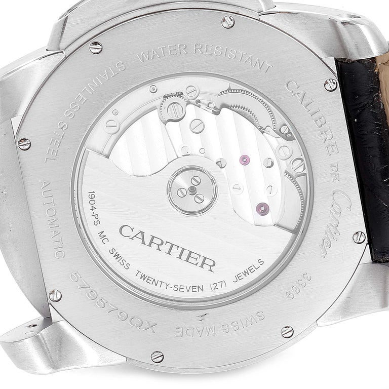 Cartier Calibre Silver Dial Steel Men's Watch W7100037 Box Papers For Sale 3