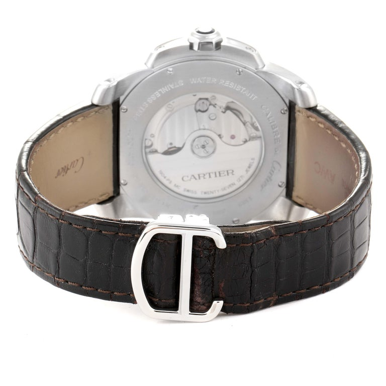 Cartier Calibre Silver Dial Steel Men's Watch W7100037 Box Papers For Sale 4