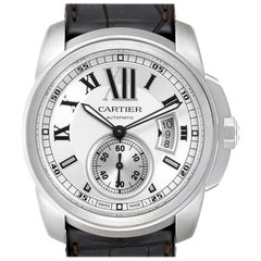 Cartier Calibre Silver Dial Steel Men's Watch W7100037 Box Papers