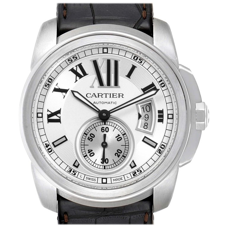 Cartier Calibre Silver Dial Steel Men's Watch W7100037 Box Papers For Sale
