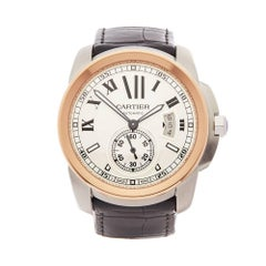 Cartier Calibre Stainless Steel and 18 Karat Rose Gold Men's 3389 or W7100039
