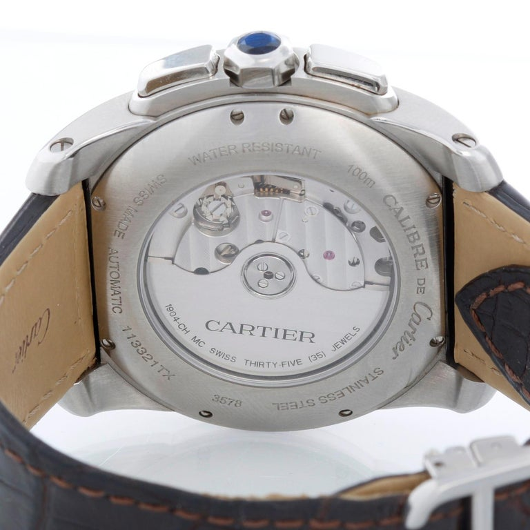 Cartier Calibre Stainless Steel & Rose Gold Men's Watch W7100043 3578 For Sale 1
