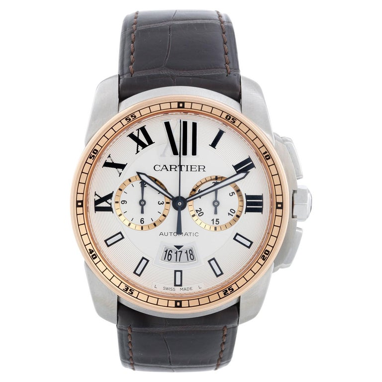 Cartier Calibre Stainless Steel & Rose Gold Men's Watch W7100043 3578 For Sale