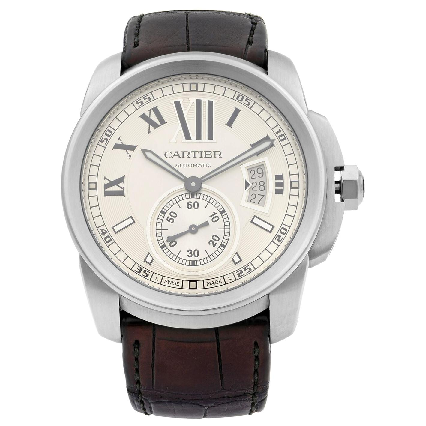 Cartier Calibre Stainless Steel Silver Dial Date Automatic Men's Watch W7100037