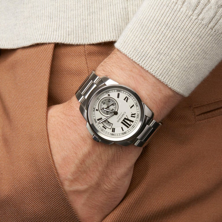 Cartier Calibre Stainless Steel W7100037 or 3398 For Sale 4