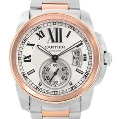 Cartier Calibre Steel 18 Karat Rose Gold Men's Watch W7100036 Box Papers