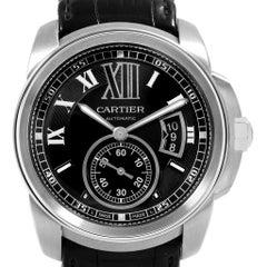 Cartier Calibre Stahl Schwarzes Ziffernblatt Automatische Herrenuhr W7100014
