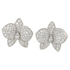 Cartier Caresse d' Orchidees White Gold and Diamond Earrings
