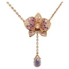 Cartier Caresse d'orchidée Pink Sapphire, Diamond and Rose Quartz Orchid Necklet