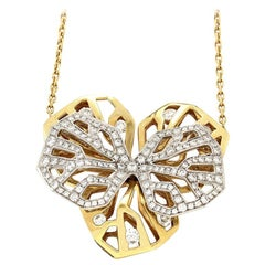 Cartier Caresse d'Orchidees Diamond 18K Yellow and White Gold Pendant Necklace