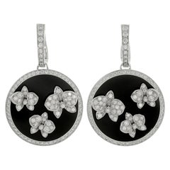 Cartier Caresse d'Orchidées Diamond Black Onyx White Gold Drop Earrings
