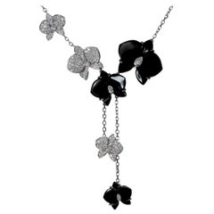 Cartier Caresse D'Orchidees Diamond Onyx White Gold Necklace