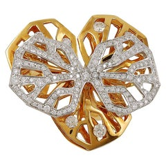 Cartier Caresse d'Orchidees Diamond Yellow and White Gold Orchid Ring