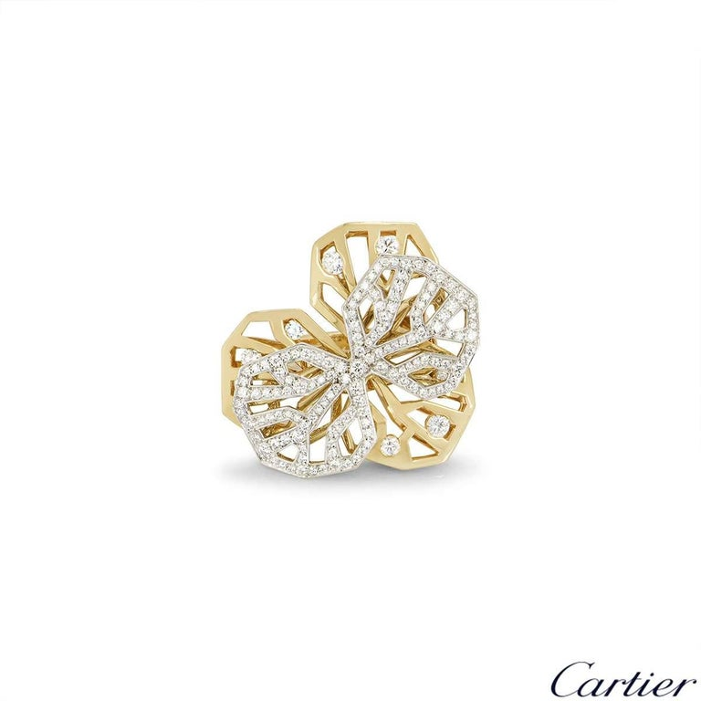 Round Cut Cartier Caresse d'Orchidees Necklace and Ring Suite For Sale