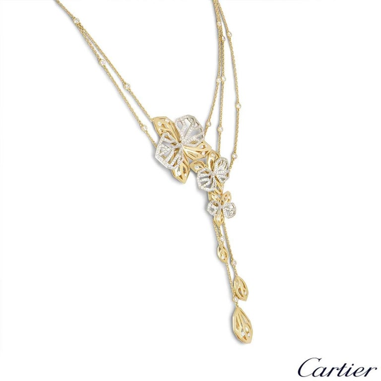 Women's Cartier Caresse d'Orchidees Necklace and Ring Suite For Sale