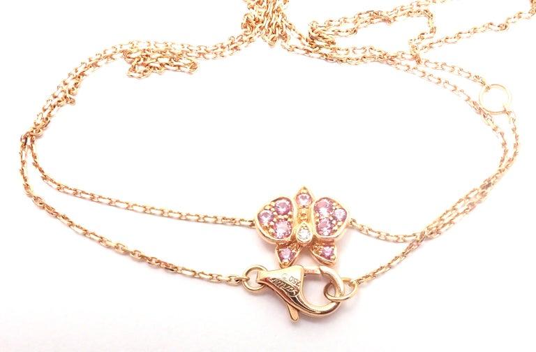 Cartier Caresse D'orchidees Pink Sapphire Diamond Rose Gold Pendant Necklace For Sale 6