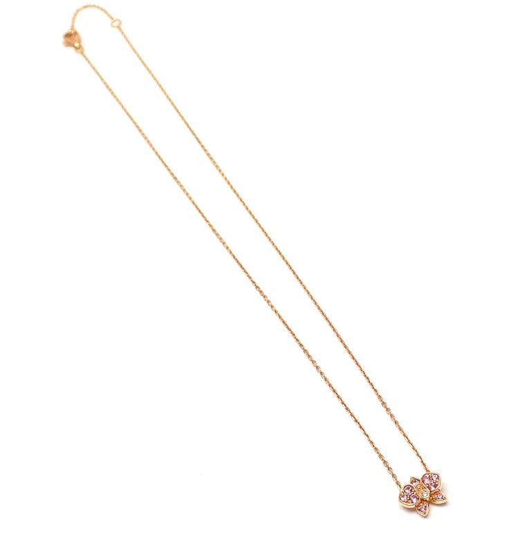 Cartier Caresse D'orchidees Pink Sapphire Diamond Rose Gold Pendant Necklace For Sale 7