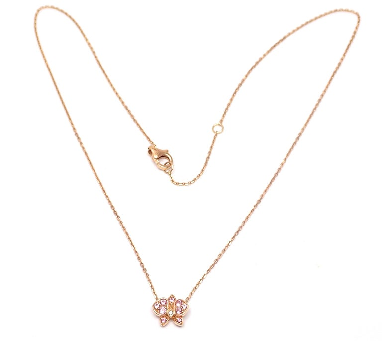 Cartier Caresse D'orchidees Pink Sapphire Diamond Rose Gold Pendant Necklace In Excellent Condition For Sale In Holland, PA