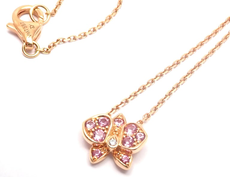 Cartier Caresse D'orchidees Pink Sapphire Diamond Rose Gold Pendant Necklace For Sale 1
