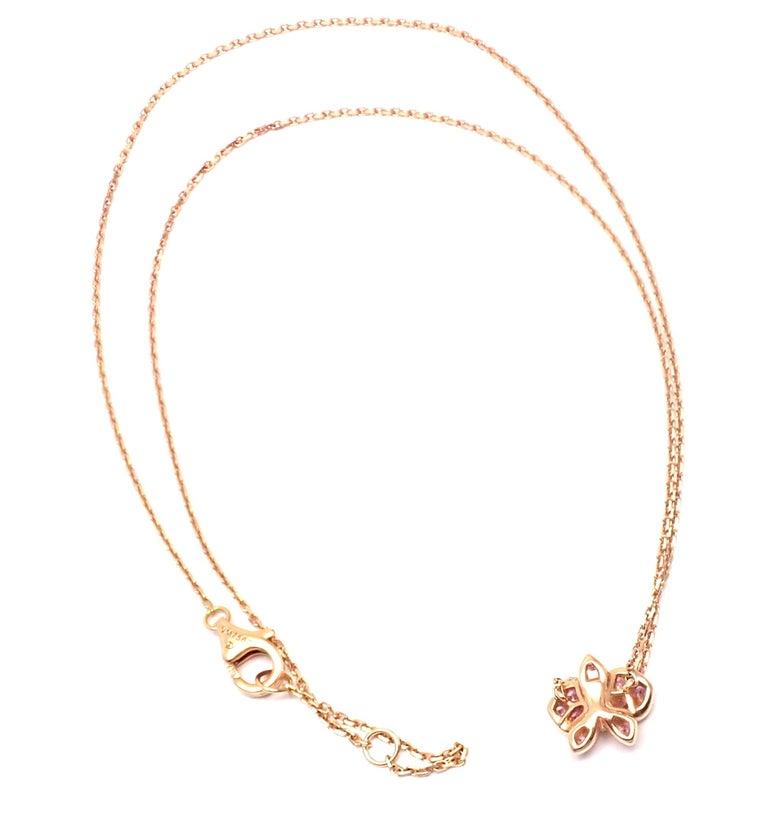 Cartier Caresse D'orchidees Pink Sapphire Diamond Rose Gold Pendant Necklace For Sale 2
