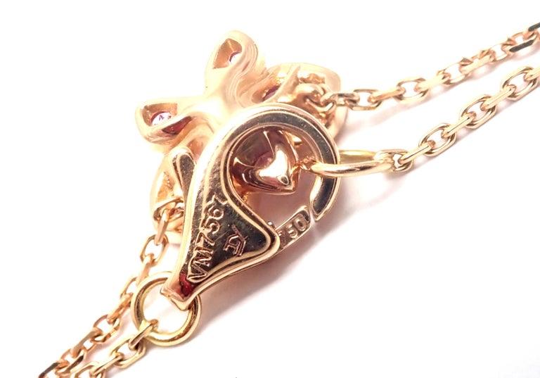 Cartier Caresse D'orchidees Pink Sapphire Diamond Rose Gold Pendant Necklace For Sale 5