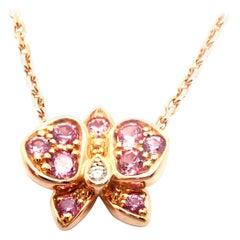 Cartier Caresse D'orchidees Pink Sapphire Diamond Rose Gold Pendant Necklace