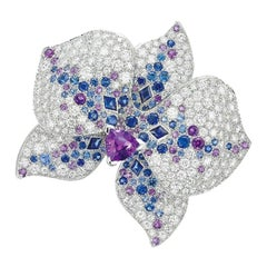 Cartier Caresse d'Orchidees White Gold Orchid Flower Diamond Multi Gemstone Ring