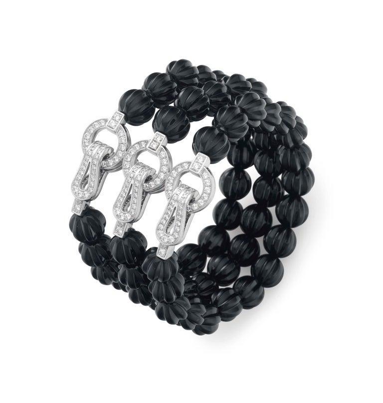 Women's Cartier Carved Onyx Diamond Bead Bracelet