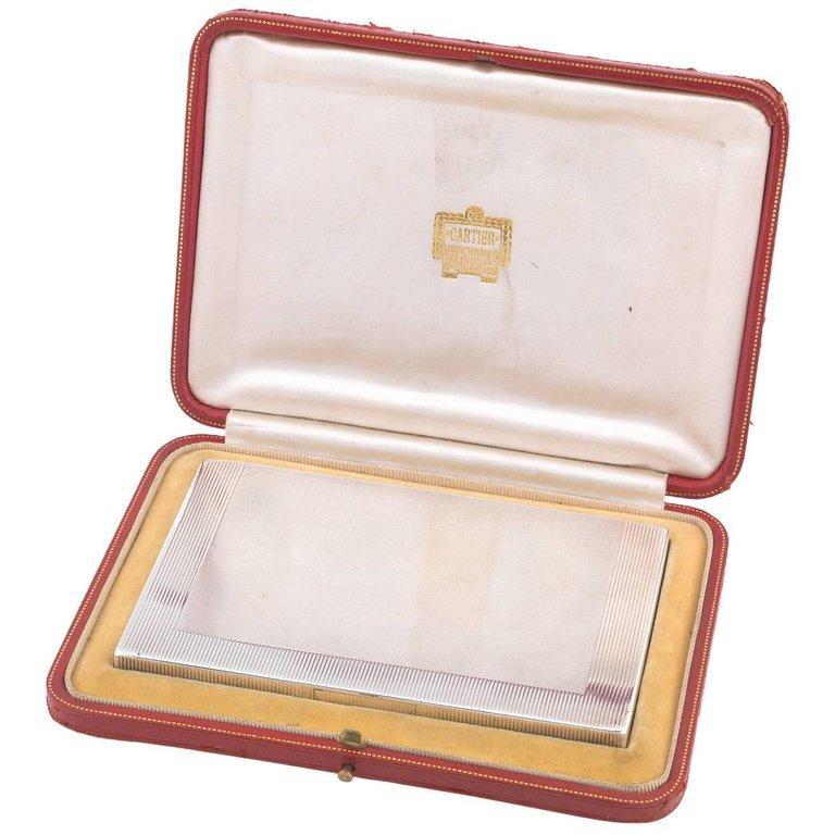 French Cartier Cased Silver Cigarette Box For Sale