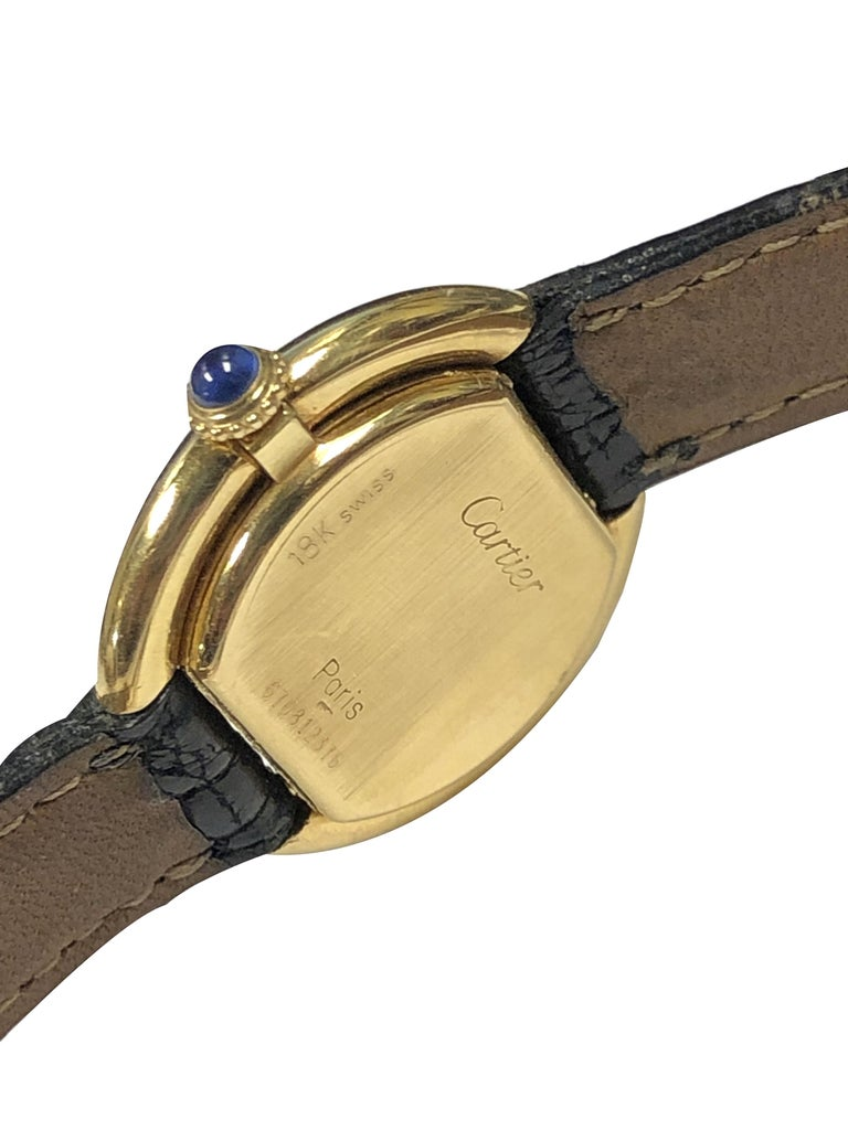 Cartier Centure Ladies Vintage Yellow Gold Mechanical Wristwatch In Excellent Condition In Chicago, IL
