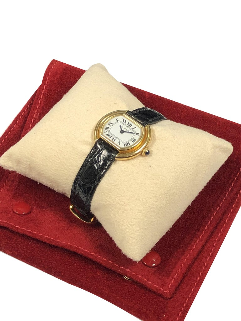 Cartier Centure Ladies Vintage Yellow Gold Mechanical Wristwatch 2