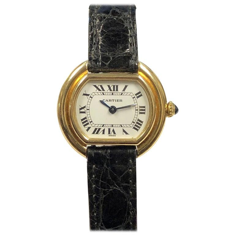 Cartier Centure Ladies Vintage Yellow Gold Mechanical Wristwatch