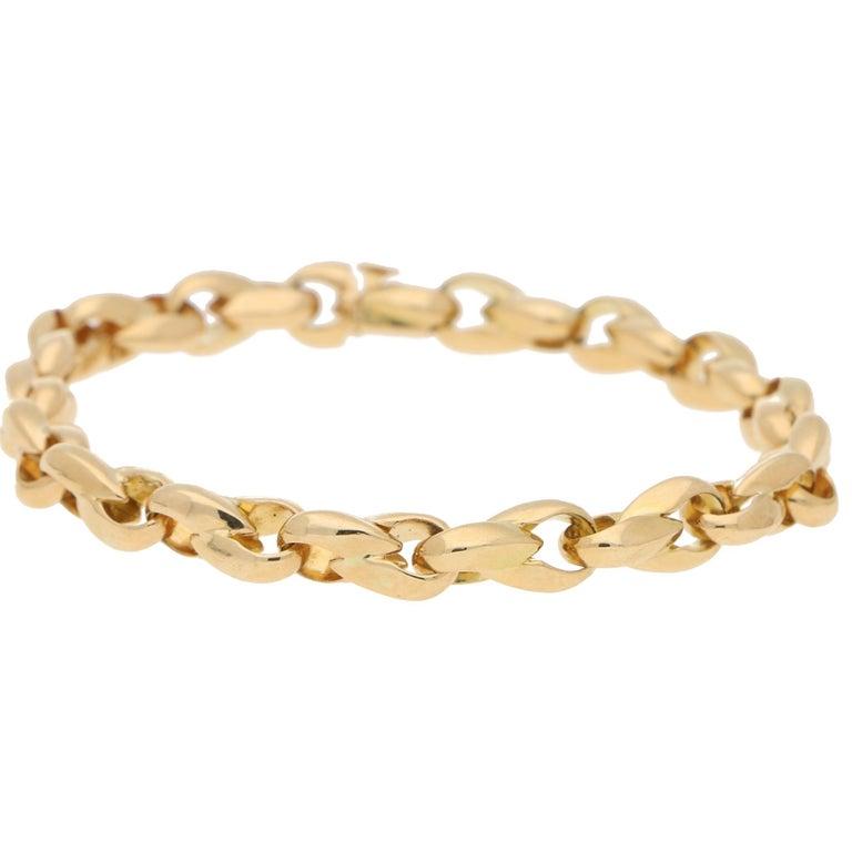 Retro Cartier Chain Link Bracelet Set in Solid 18 Karat Yellow Gold For Sale