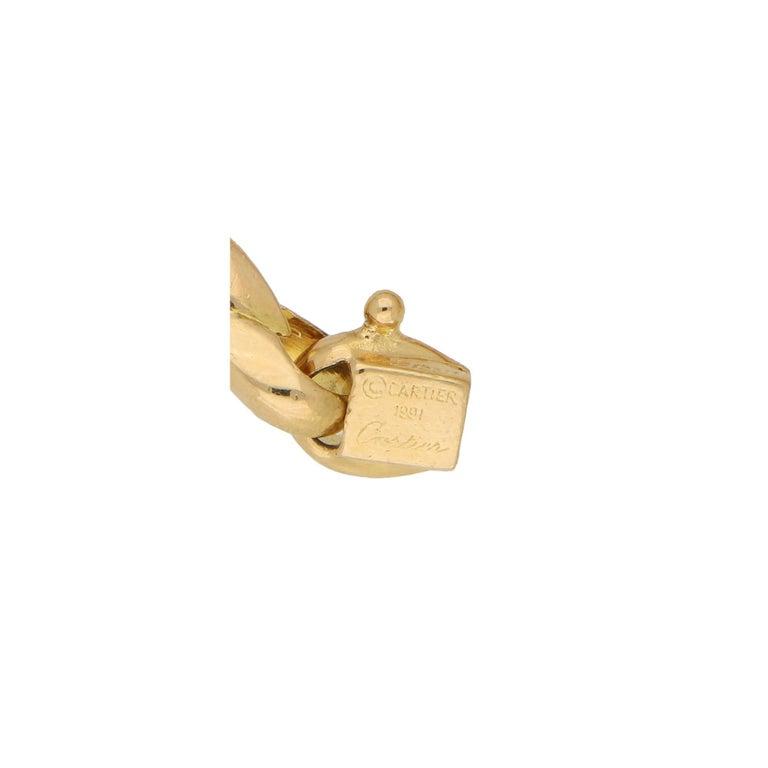 Women's or Men's Cartier Chain Link Bracelet Set in Solid 18 Karat Yellow Gold For Sale
