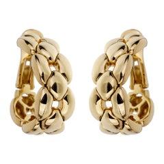 Cartier Chain Link Yellow Gold Hoop Drop Earrings