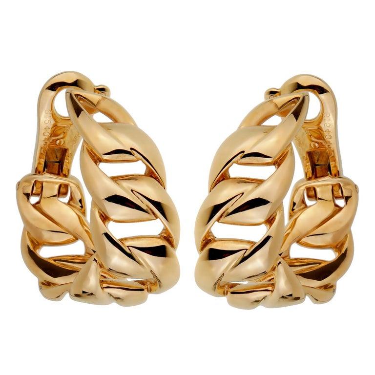 Women's Cartier Chain Link Yellow Gold Hoop Earrings For Sale